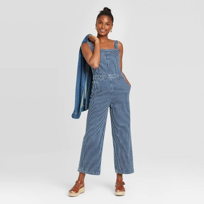 Women's High-Rise Striped Wide Leg Cropped Overalls Jeans - Universal Thread™ Medium Blue