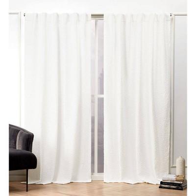 Textured Matelassé Hidden Tab Top Curtain Panel Pair - Nicole Miller
