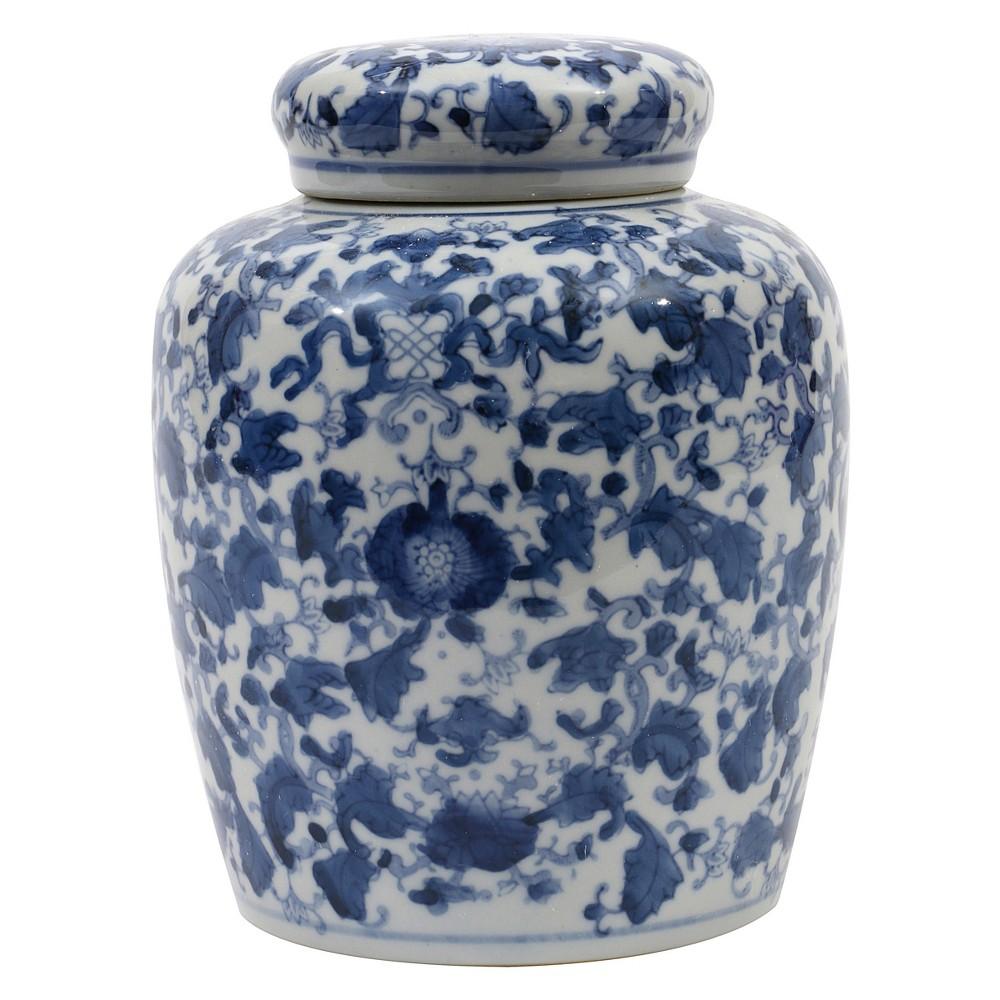 "Image of ""Decorative Ceramic Ginger Jar (8.25"""") - Blue/White - 3R Studios"""