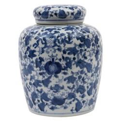 "Decorative Ceramic Ginger Jar (8.25"") - Blue/White - 3R Studios"