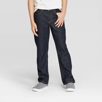 Boys' Relaxed Straight Fit Jeans - Cat & Jack™ Dark Wash