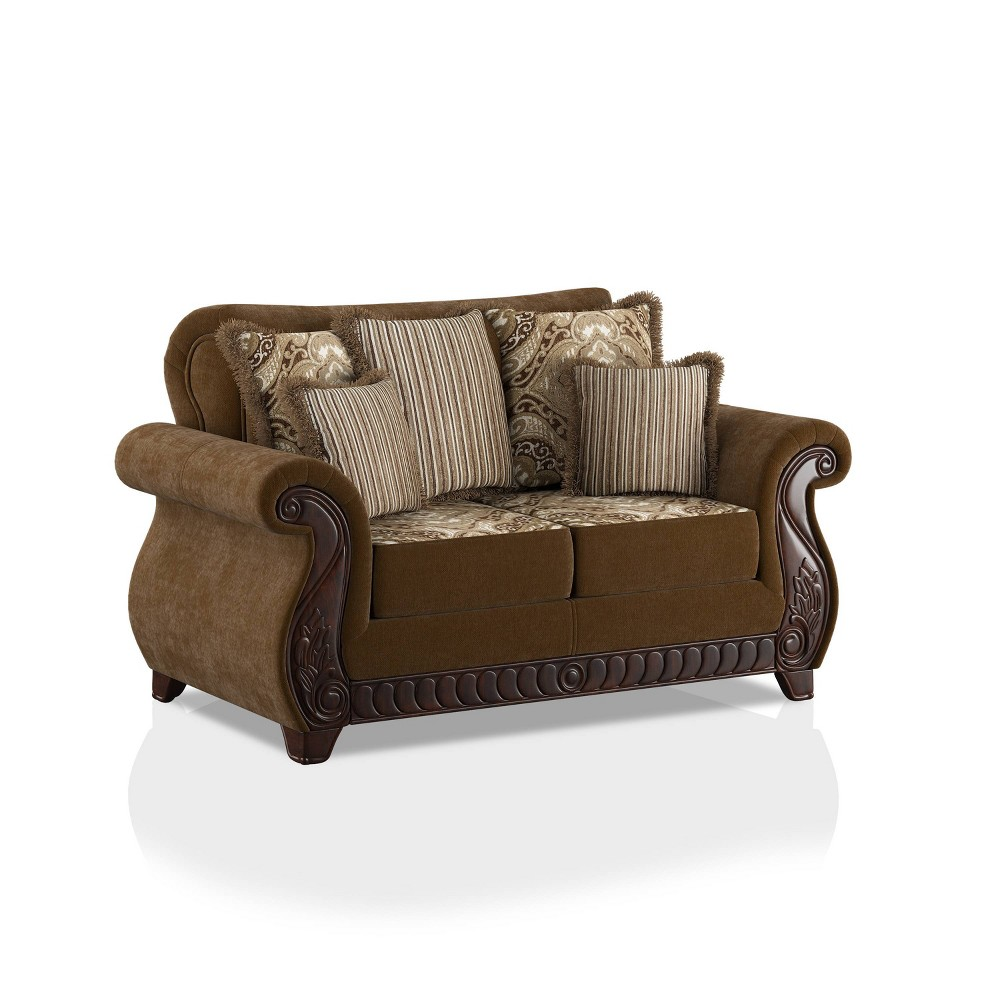 Glenridge Rolled Arms Loveseat Brown Homes Inside Out