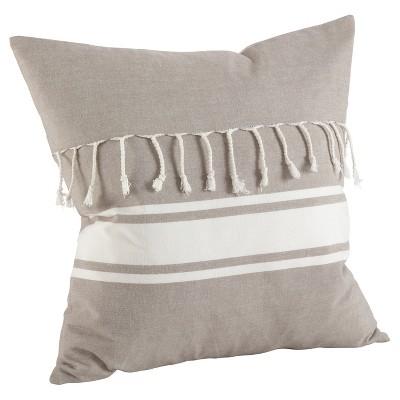 Taupe Stripe Design Tassel Fringe Throw Pillow (20 )- Saro Lifestyle®