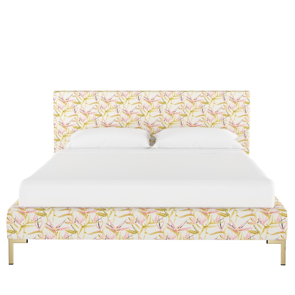 Platform Bed California King Pink & Cream Tropical Grass - Opalhouse