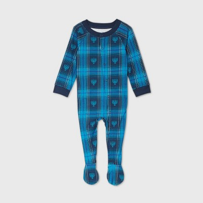 Baby Holiday Hanukkah Flannel Matching Family Footed Pajama - Navy 3-6M