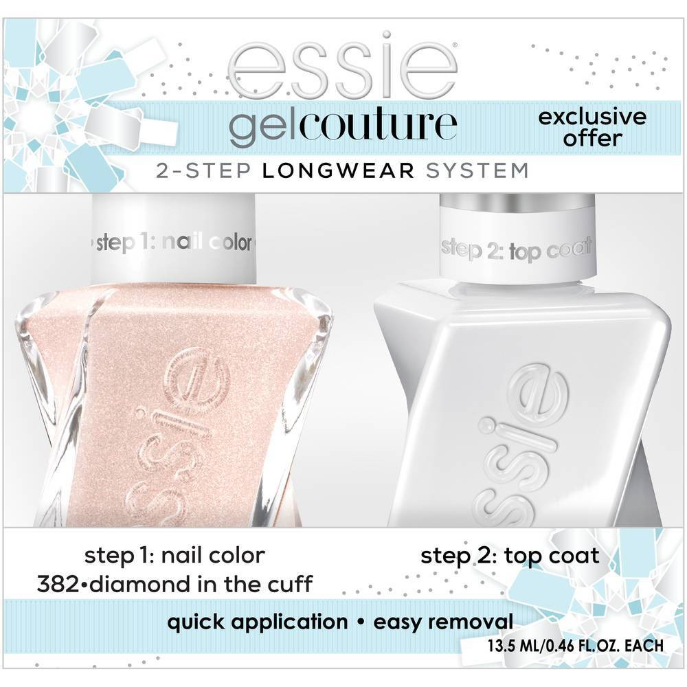 Image of essie Gel Couture 2-step Longwear System Holiday Set Diamond in the Cuff - 0.92 fl oz