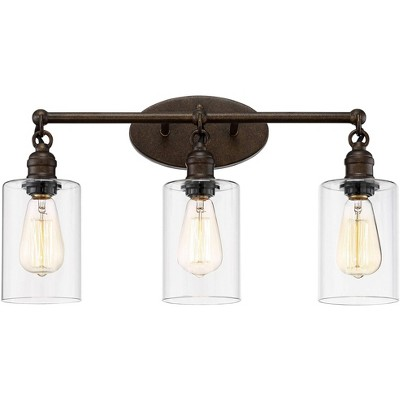 """Franklin Iron Works Industrial Rustic Wall Light LED Bronze Hardwired 21 3/4"""" Wide 3-Light Fixture Clear Glass for Bathroom Vanity"""
