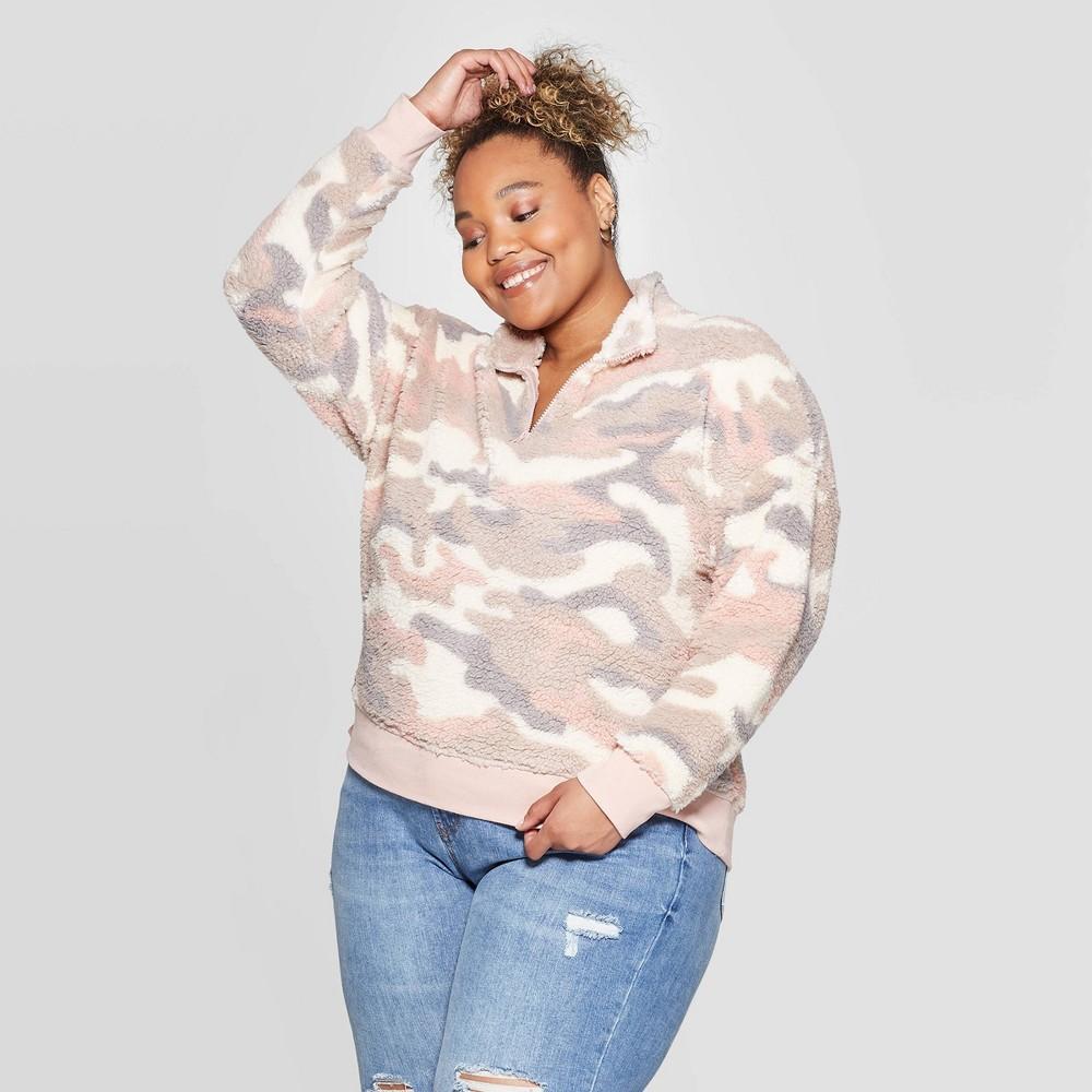 Image of Women's Camo Print Plus Size Long Sleeve 1/4 Zip Sherpa Sweatshirt -Grayson Threads (Juniors') - Pink 1X, Women's, Size: 1XL