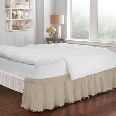 "Tan Wrap Around Pom Pom Bed Skirt (Queen/King)(80"" X 60"")- EasyFit"