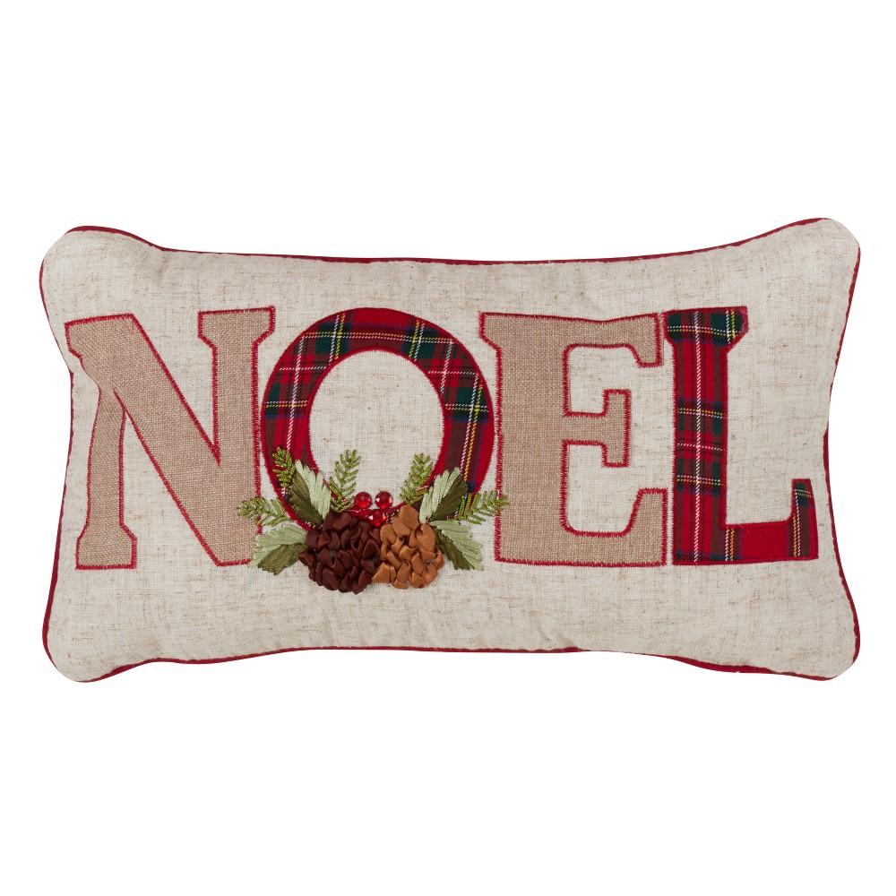 Plaid Noel Lumbar Throw Pillow Tan - Saro Lifestyle