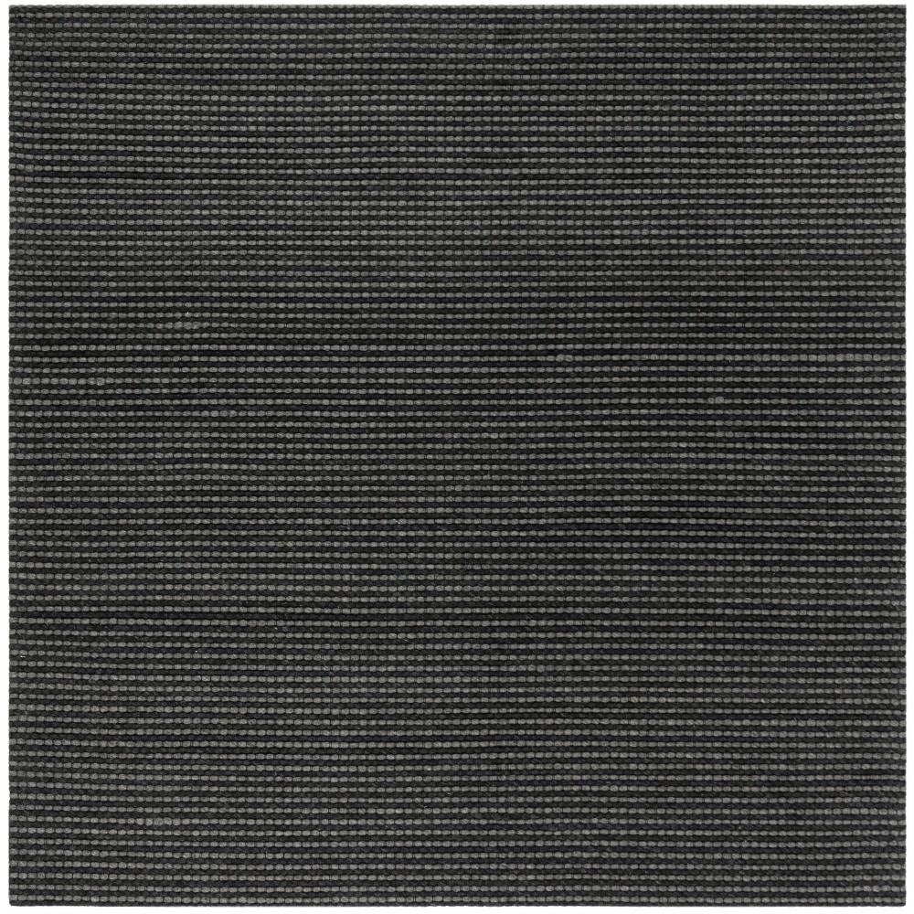 6'X6' Solid Woven Square Area Rug Gray/Black - Safavieh