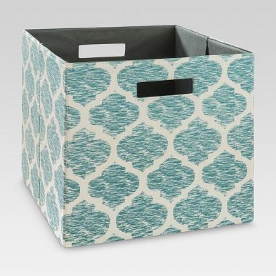 "13"" Fabric Cube Storage Bin Teal Pattern - Threshold™"