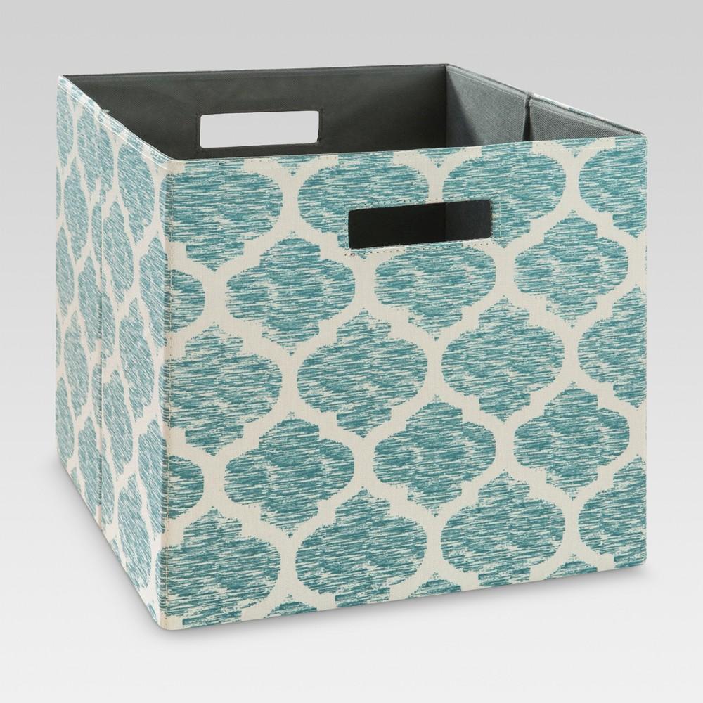 13 34 Fabric Cube Storage Bin Teal Pattern Threshold 8482