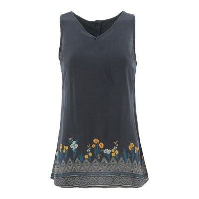 Aventura Clothing Womens Floral Standard Fit Sleeveless V Neck Tank Top - Gray Medium