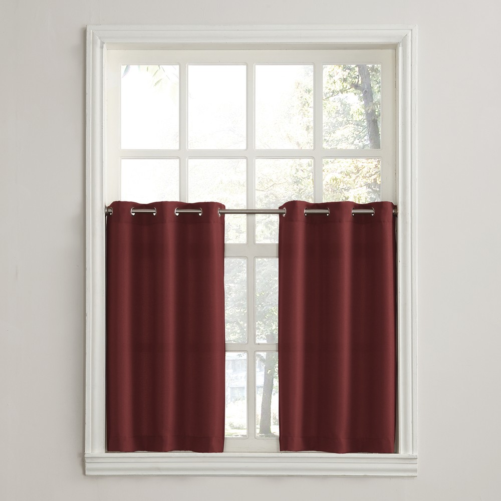 Montego Casual Textured Grommet Kitchen Curtain Tier Pair Wine (Red) 56