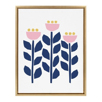 """18"""" x 24"""" Sylvie Nordic Flowers Framed Canvas Wall Art by Myriam Van Neste Gold - Kate and Laurel"""