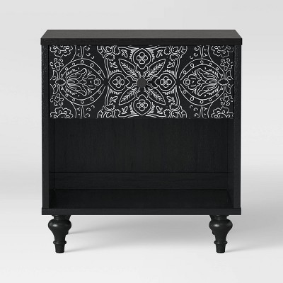 Muscari Carved Wood Nightstand Black - Opalhouse™