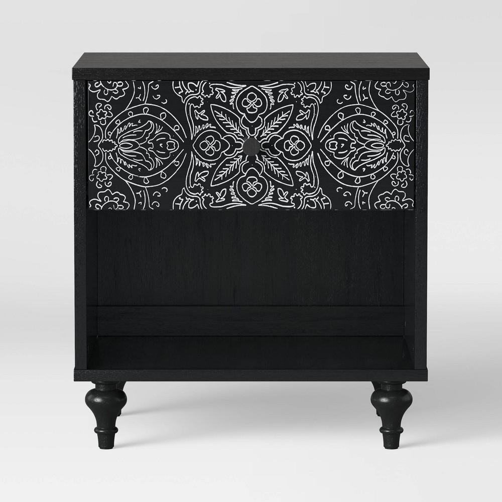 Muscari Carved Wood Nightstand Black - Opalhouse