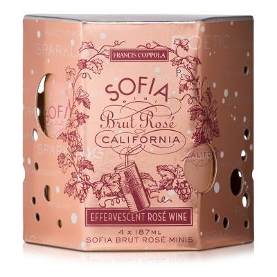 Francis Coppola Sofia Mini Brut Rosé Sparkling Wine - 4pk/187ml Cans