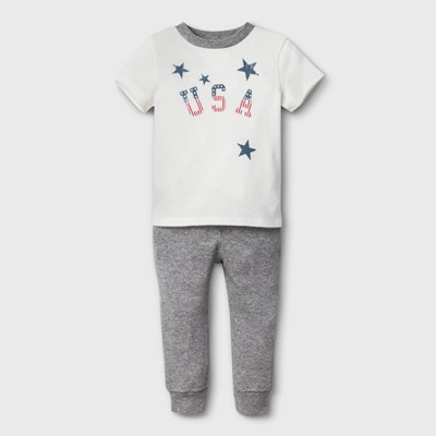 Weekend Soul Baby 4th of July USA Footed Sleeper - Ivory 3-6M