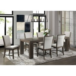 7pc Jasper Dining Table & Six Upholstered Side Chairs Toasted Walnut - Picket House Furnishings