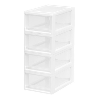 IRIS 4pk Small Stacking Drawer White