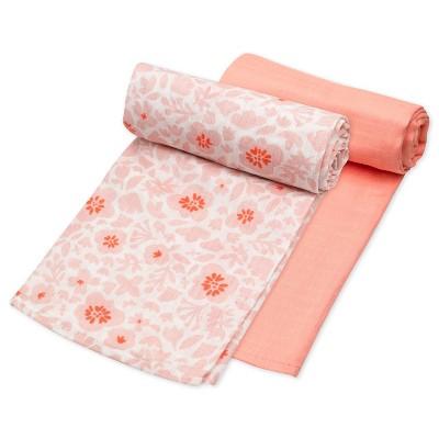 Honest Baby Organic Cotton Muslin Swaddle Blankets - Peach Skin Papercut Floral 2pk
