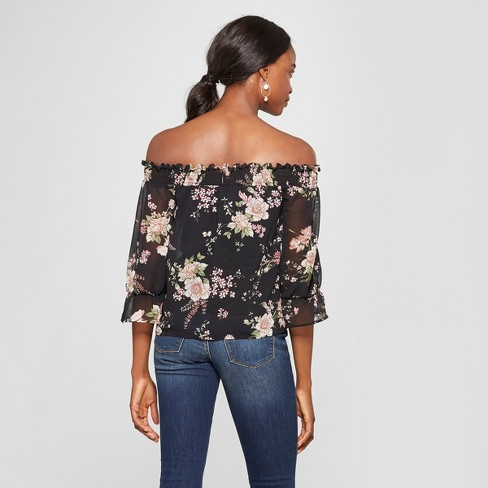 Women s Floral Print 3 4 Sleeve Off the Shoulder Top - Lily Star (Juniors )  Black 0c925d4f00