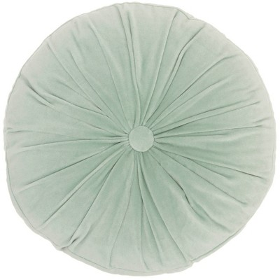 """16"""" Ruched Velvet Round Throw Pillow Green - Mina Victory"""