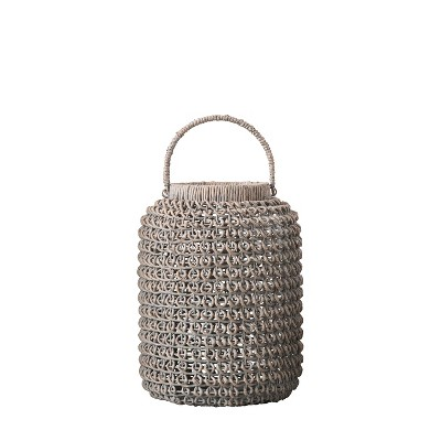 """20"""" x 15"""" Water Hyacinth Candle Holder Lantern with Glass Insert Natural - 3R Studios"""