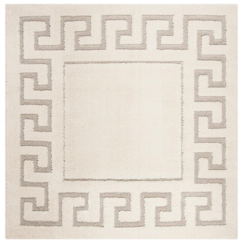 Cream/Beige Geometric Loomed Square Area Rug 6'7