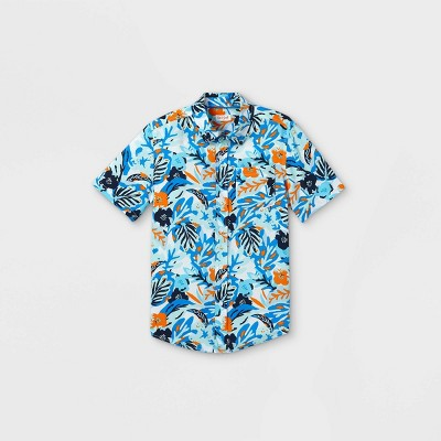 Boys' Challis Button-Down Short Sleeve Shirt - Cat & Jack™ Aqua