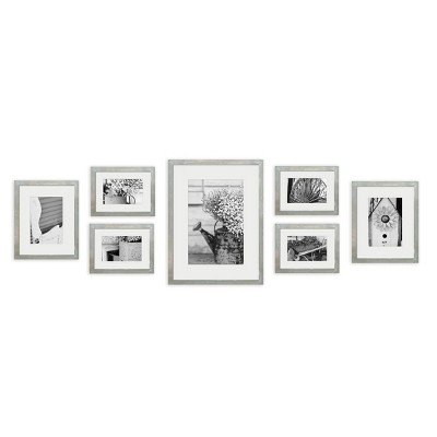 Gallery Perfect 8  x 10 ||5  x 7 ||4  x 6  (7pc)Photo Wall Gallery Kit with Decorative Frame Set Gray