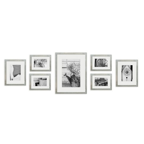 7pc Photo Wall Gallery Kit with Decorative Frame Set Gray - Gallery Perfect - image 1 of 4