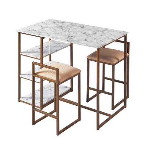 Marmo Breakfast Table Dining Set with Faux Marble Top Brass Finish -  Versanora