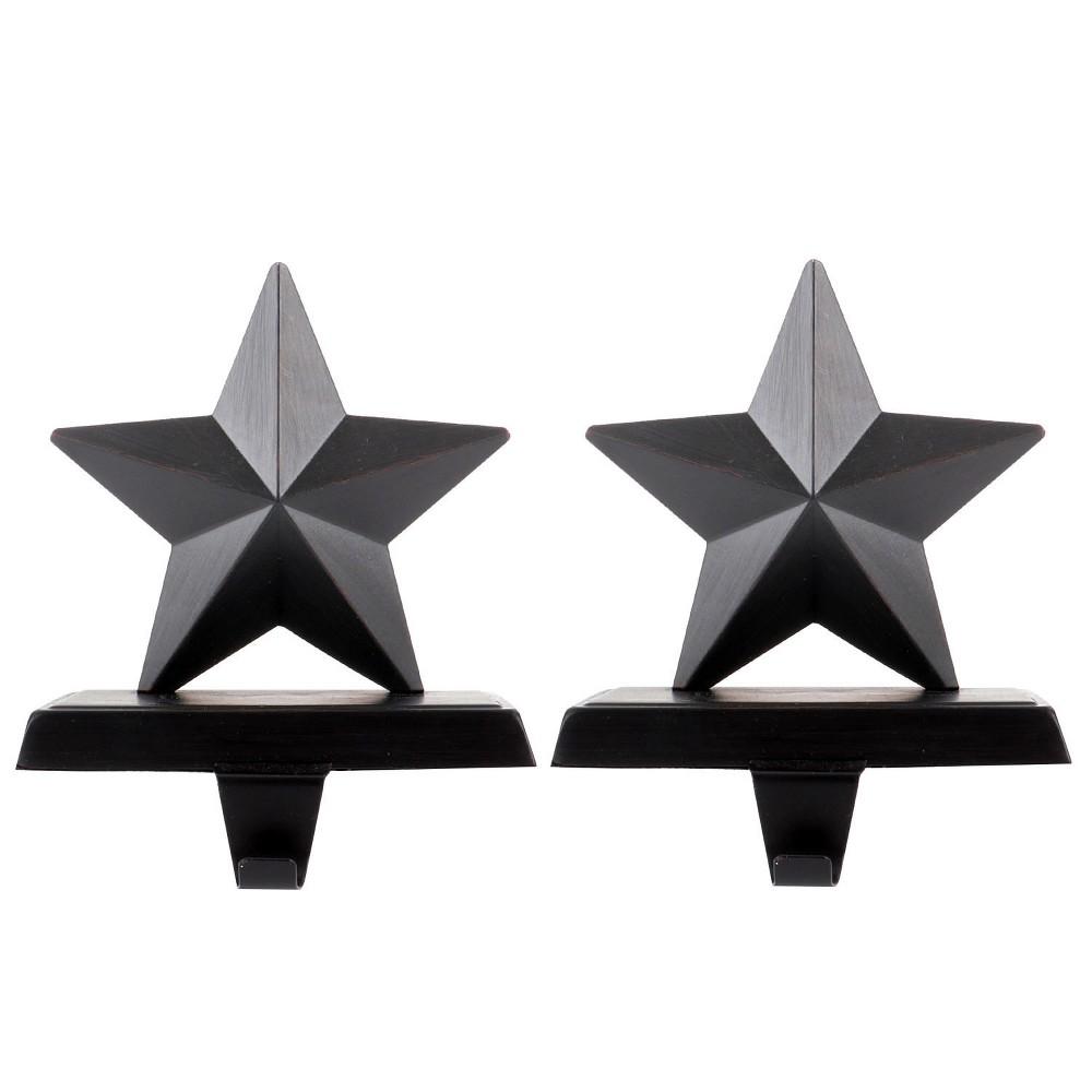 Metal Star Christmas Stocking Holder Dark Bronze 2ct - Wondershop