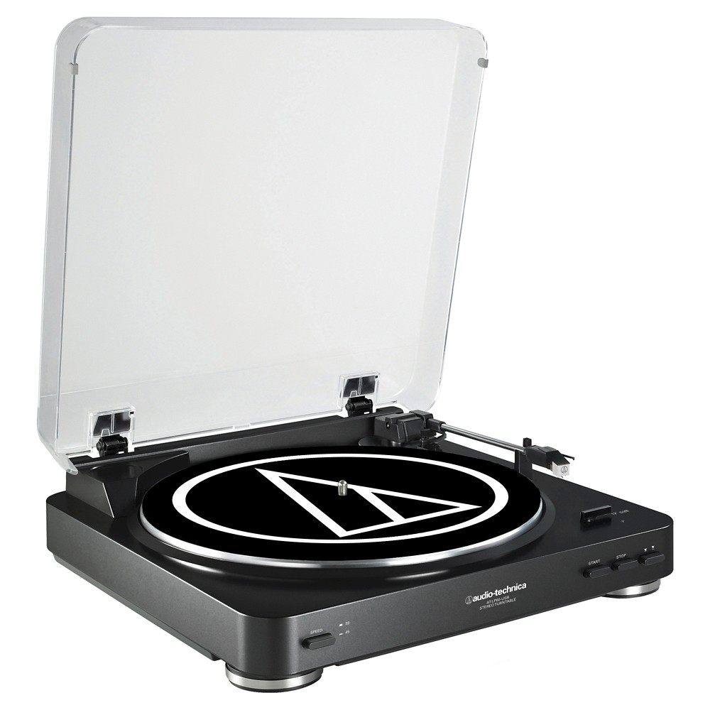 Audio Technica ATLP60USB LP to Usb Digital Belt Drive Turntable - Black Now you can experience your vinyl's high-fidelity audio directly or convert it to digital. The AT-LP60-Usb stereo turntable comes equipped with a Usb output that allows direct connection to your computer. Includes: Mac- and PC-compatible Audacity software; an integral dual-magnet Audio-Technica phono cartridge; Usb cable and adapter cables. The turntable features a built-in switchable phono preamp that enables it to be connected directly to a computer, home stereo, powered speakers and other components that have no dedicated turntable input. Color: Black.