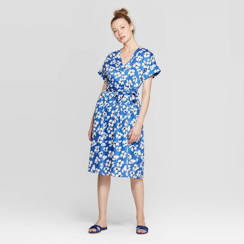 Women's Floral Print Short Sleeve V-Neck Wrap Dress - Who What Wear™ Blue/White - image 1 of 3