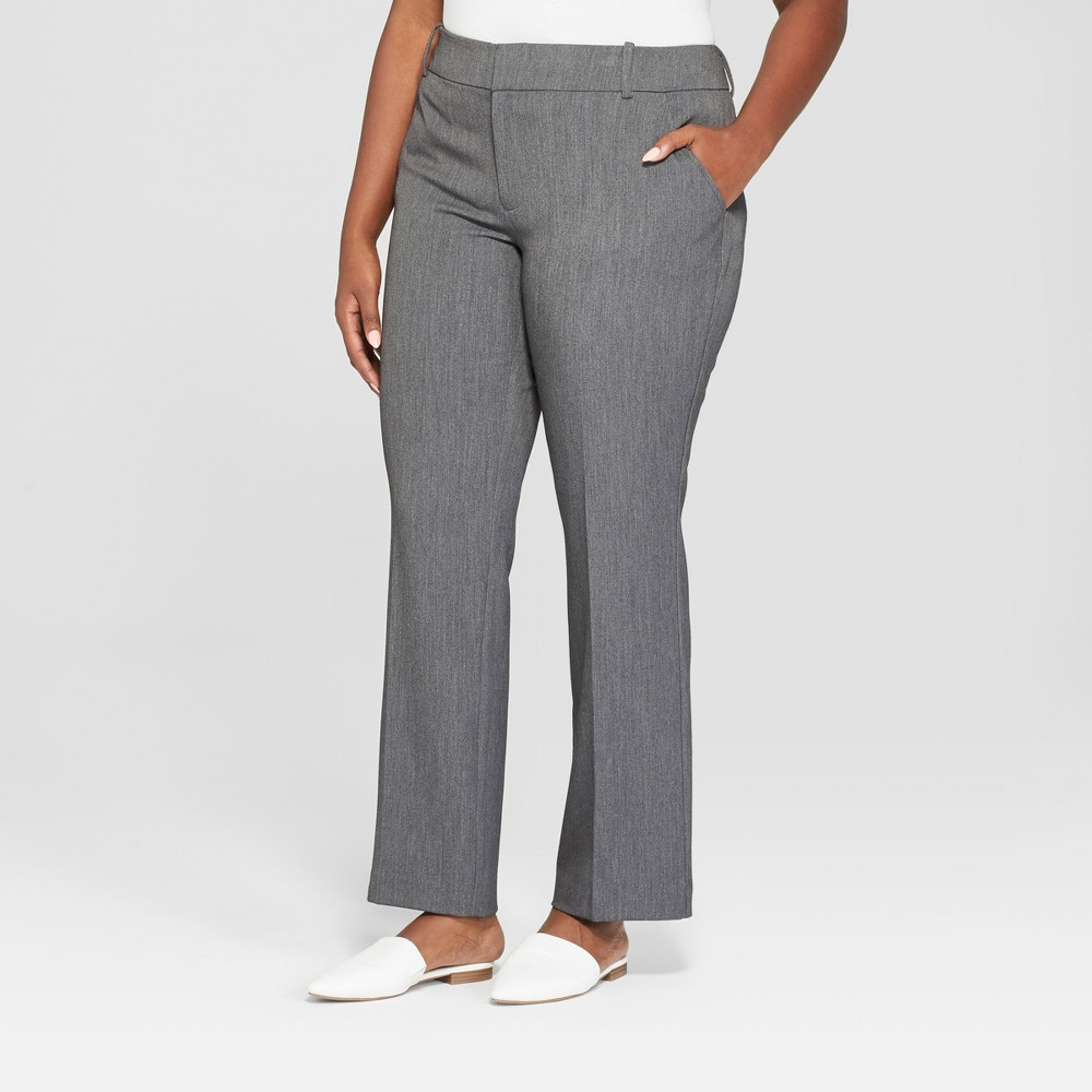 Best Online Women Plus Size Trouser Pants With Comfort Waistband Ava Viv Gray 26W Dark Heather