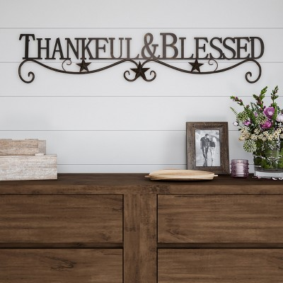 Thankful And Blessed  Wall Metal Cutout Sign Natures Brown - Lavish Home