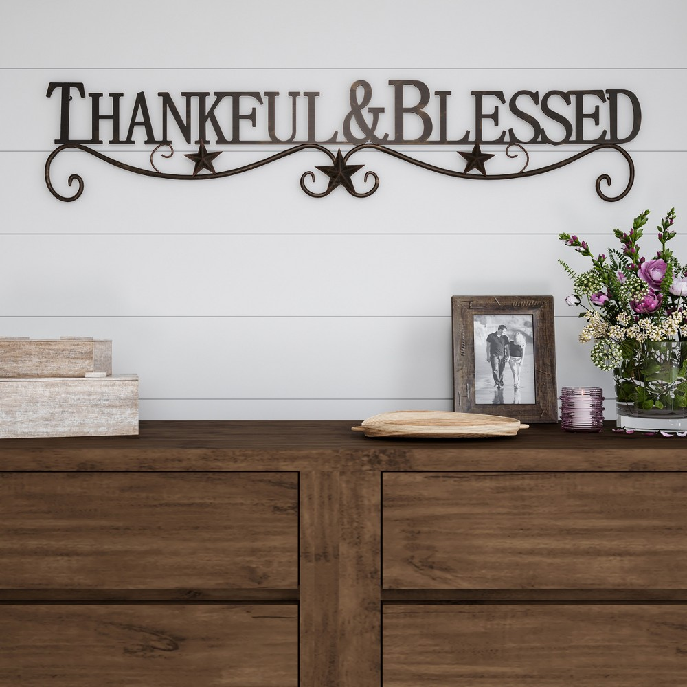 "Image of """"""Thankful And Blessed"""" Wall Metal Cutout Sign Natures Brown - Lavish Home"""
