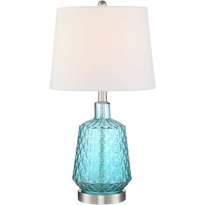 360 Lighting Modern Coastal Accent Table Lamp Blue Glass White Drum Shade for Living Room Bedroom Bedside Nightstand Office Family