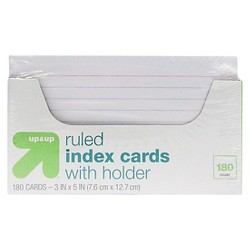 "Index Cards Ruled with Holder 3"" x 5"" 180ct White - Up&Up™"
