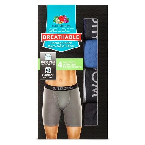 4a4b553f36a0 Fruit Of The Loom® Men's 4pk Breathable Long Leg Boxer Briefs - Blue/Gray :  Target