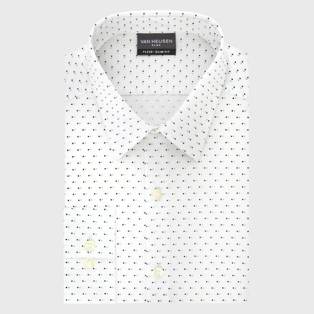 Men 39 S Polka Dot Slim Fit Long Sleeve Flex Button Down Shirt Van Heusen Andes Blue 16 36 37