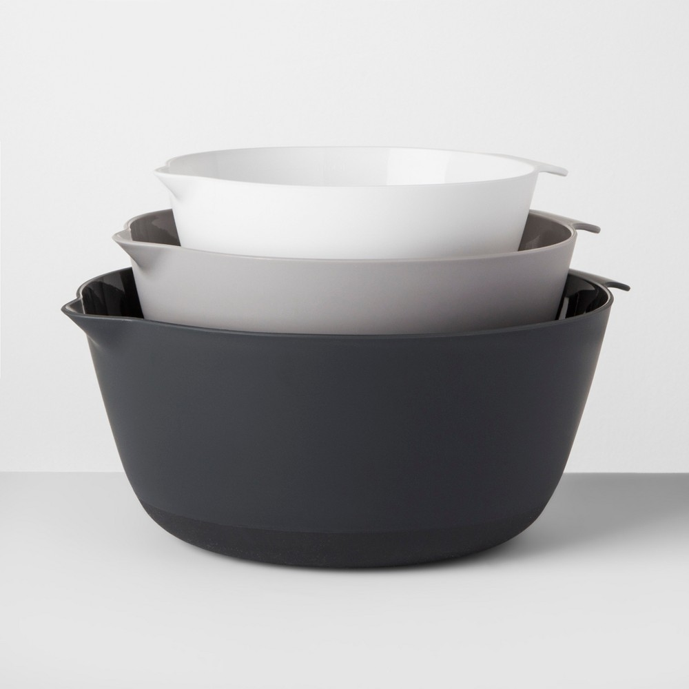 Plastic Mixing Bowl Set of 3 - Made By Design, White/Gray/Black