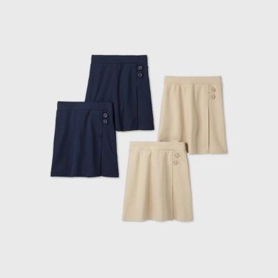 Girls' 4pk Stretch Uniform Knit Skorts - Cat & Jack™ Khaki/Navy