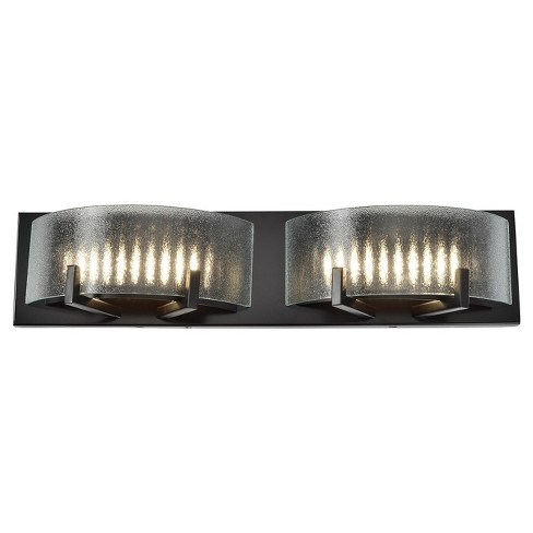 Firefly 2-Light LED Bath Light with Micro-Texture Glass Shade - Warm Bronze - Rogue Décor - image 1 of 3