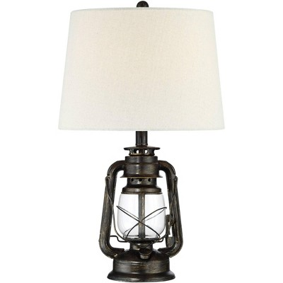 Franklin Iron Works Murphy Weathered Bronze Miner Lantern Lamp with Table Top Dimmer
