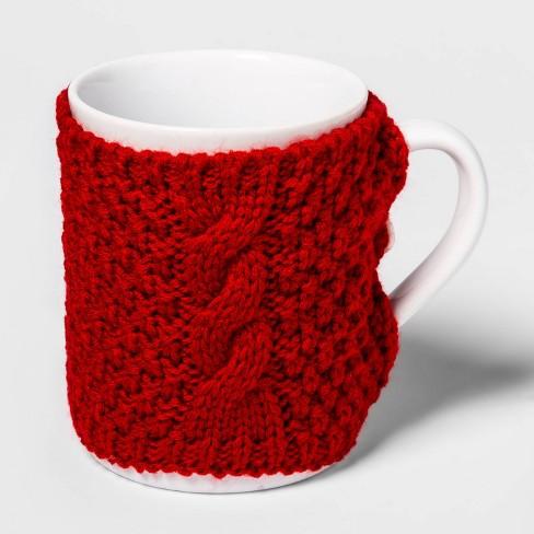 15oz Stoneware Cable Knit Sweater Mug Red - Threshold™ - image 1 of 1